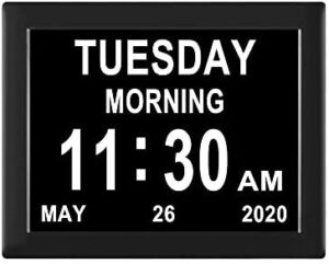 【Newest Version】 Digital Day Clocks 8 Alarms Auto-Dimming Extra Large Day and Date Calendar Dementia Clocks for Seniors Elderly Vision Impaired Memory Loss