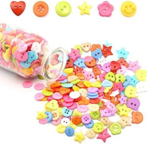 1000-1200 PCS Assorted Resin Buttons for Sewing DIY Crafts Children's Manual Button Painting, DIY Handmade Ornament Arts & Crafts, Decoration, Collections. (2/4Holes Multicolor Multi-Shape)