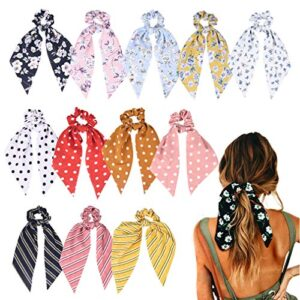 12 Pcs Hair Scarf Hair Scrunchies Chiffon Floral Scrunchie Hair Bands Ponytail Holder Scrunchy Ties 2 in 1 Vintage Accessories for Women Girls