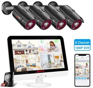 """ANRAN 1080P Security Camera System with 13"""" Monitor, 8CH 5MP-Lite DVR Pre-Install 1TB Hard Drive 4pcs 1080P Indoor Outdoor Weatherproof CCTV Cameras with Night Vision, Motion Alert, Remote Access"""