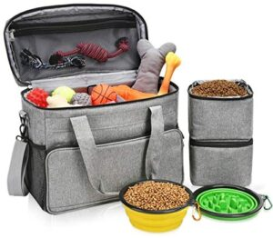 """Arouit Dog Travel Bag, Dog Luggage with 2 Collapsible Slow Feeder Bowls, 2 Food Storage Containers, Pet Supplies Tote Organizer for Large Dogs, Puppy (21L, 15 x 7 x 12"""")"""