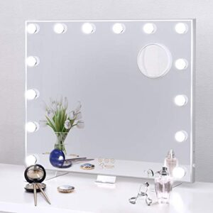 BESTOPE Vanity Mirror with Lights Hollywood Led Vanity Mirror for Dresser and Bedroom,USB A and USB C Outlet,Touch Control,Tabletop or Wall Mounted