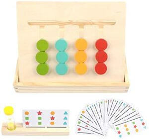 BUYGOO Preschool Learning Toys Slide Puzzle Color & Shape Matching Brain Teasers Logic Game Montessori Educational Wooden Toys for Kids Child Boys Girls Age 3 4 5 6 7 Years Old Family Game