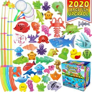 CozyBomB Magnetic Fishing Game Toys Set for Kids - Water Table Bathtub Kiddie Pool Party with Pole Rod Net, Plastic Color Ocean Sea Animals Age 3 4 5 6 Year Old, Instruction Note Included