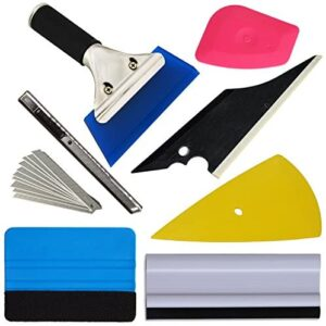 EHDIS 7 Pieces Vehicle Glass Protective Film Car Window Wrapping Tint Vinyl Installing Tool: Squeegees, Scrapers, Film Cutters