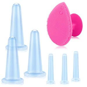 Fercasih 7 Pack Facial Cupping Set for Face and Eye Silicone Massager, Cupping Facial Set with Exfoliating Brush for Cheeks, Chin and Lips(Blue)