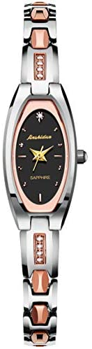 JSDUN Lady Square Oval Dial Slim Watches with Tungsten Steel Elegant Dress Thin Watch Band Link Rose Gold/Gold/Silver/Black Tone Prime