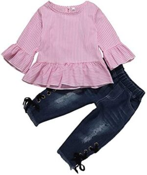 Kionio Baby Girl Clothes Ruffle Leopard Long Sleeve Skirt Jeans Denim Ripped Toddler Girl Clothes Set Outfits