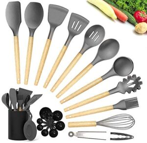 Kitchen Utensil Sets, CIYOYO 23Pcs Silicone Cooking Utensils Set with Holder for Nonstick Cookware, Wooden Handle Spatula Turner Spoons, Heat Resistant Kitchen Gadgets Tools