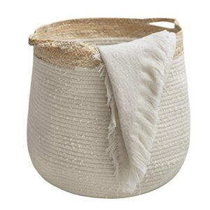 LA JOLIE MUSE Rope Basket Woven Storage Basket - Laundry Basket Large 17.3X 15 x 14.1 Inches Cotton Blanket Organizer, Baby Nursery Containers White Home Decor Gift