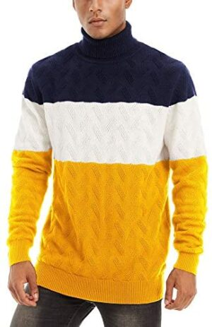 MAGCOMSEN Men's Knitted Sweaters Turtleneck Color Block Cotton Ultra Soft Fall Winter Pullover