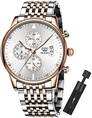 OLEVS Watches for Men Luminous Multifunctional Chronograph Big Face Rose Gold Stainless Case and Band Business Japanese Quartz Wrist Watch Gifts for Men