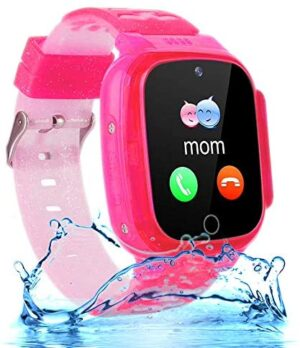 """OVV Kids Waterproof Smartwatch Phone Girls Boys with LBS Tracker Two-Way Call SOS 1.44"""" HD Touch Screen Camera Voice Chat Game Flashlight Alarm Clock Cellphone Wrist Gizmo Watch Toys Gifts (Pink)"""
