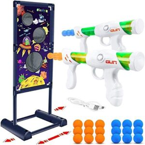 Oleoly Shooting Game Toys, Moving Shooting Target- 2pcs Popper Toy Guns & 18 Foam Balls, Fun Indoor and Outdoor Shooting Game Gift for 5 6 7 8 9+ Year Boys and Girls (Compatible with Nerf Toys)