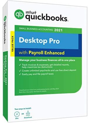 QuickBooks Desktop Pro with Enhanced Payroll 2021 Accounting Software for Small Business with Shortcut Guide [PC Disc]