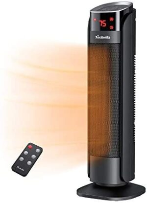 Space Heater, Techvilla 1500W PTC Ceramic Heater with Digital Thermostat, Fast Heating Portable Tower Heater with 8H Timer, Oscillating Electric Heater with Overheat & Tip-over Protection, LED Display and Remote for Home and Office