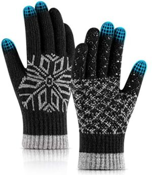 Winter Touch Screen Gloves with Touchscreen,Anti-Slip Silicone Gel Warm Wool Lining knitted Gloves for Men and Women