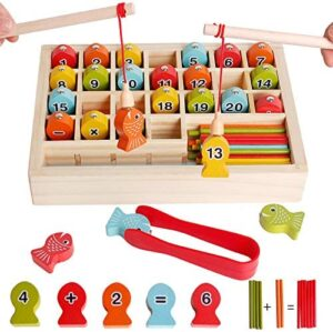 Wooden Magnetic Fishing Math Game Montessori Toys for Toddler, Fine Motor Skill Color Sorting Toy for Age 3 4 5 6 Years Old Kid - Preschool Education Learning Board Games with 2 Fishing Poles 1 Clamp