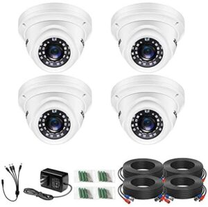 ZOSI 4 Pack 1080P Security Cameras 2.0MP Waterproof Outdoor Indoor 80ft Day Night CCTV White Dome Surveillance Cameras Compatible with 720P/1080N/1080P/5MP/4K HD-TVI AHD CVI Analog CCTV DVR Systems