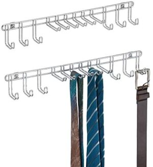 mDesign Metal Wall Mount Closet Storage Organizer Rack for Bedroom, Closet, Entryway - for Mens/Womens Ties, Belts, Slim Scarves, Jewelry, Accessories - 6 Large Hooks, 6 Small Hooks - 2 Pack - Chrome